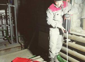 монтаж более 100 химических анкеров длинной 1000 мм на одном из заводов
